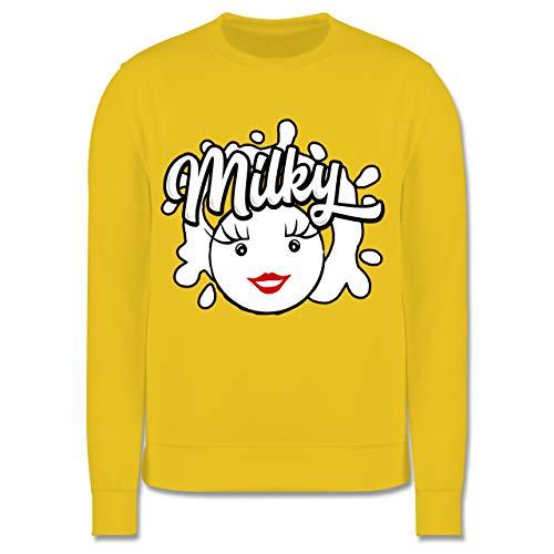 Shirtracer Karneval & Fasching Kinder - Milky & Schoki Splash Milch - 128 (7/8 Jahre) - Gelb - Partner-Look - JH030K - Kinder Pullover