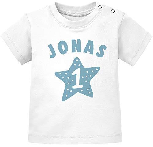 SpecialMe® personalisiertes Baby T-Shirt Name und Zahl 1 zum ersten Geburtstag Motiv Stern Junge/Mädchen Jungen weiß 80/86 (10-15 Monate)