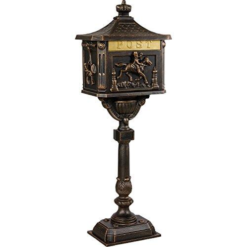 Maxstore Antiker Standbriefkasten aus rostfreiem Aluminium Briefkasten Postkasten groß antik Höhe 111 cm detailreiche Verzierungen 4 Farbvarianten Bronze