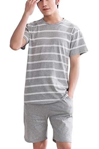 Conjuntos de Pijamas para Hombres Ropa de Dormir Ligera de Manga Corta Pijamas de Loungewear 709 XS