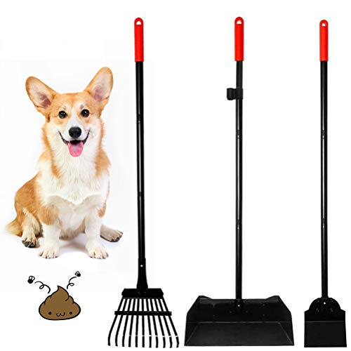 EXPAWLORER Dog Poop Rake and Scoop  3 Pack Upgraded Metal Pooper Scooper for Dogs Pet Waste Removal with Adjustable Handle Red amp Black