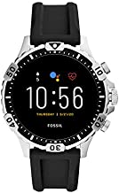 Fossil Unisex 46MM Gen 5 Garrett HR Heart Rate Stainless Steel and Silicone Touchscreen Smart Watch, Color: Silver, Black (Model: FTW4041)