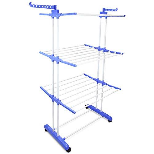 Sotech - Secadora Interior Plegable, Tendedero de 3 Niveles, 3 estantes, Azul, con Estante de Zapatos, Tamaño: 75-126 x 64 x 168 cm, Material: PP