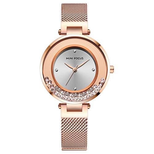 JTTM Moda Señoras Reloj De Pulsera Impermeable Cuarzo Reloj De Pulsera para Mujer Acero Inoxidable Pulsera Velar por Chica,Rose