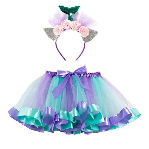 FENICAL - Disfraz de Hada para niña, diseño de Sirena, con Orejas de Lentejuelas, diseño de Flor y Falda de tutú (S) Multicolor L