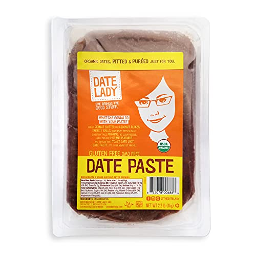 Date Lady Organic Date Paste (2.2 lbs)   1 Ingredient: 100% Organic Dates   Vegan, Paleo, non-GMO, Gluten-Free & Kosher   No Added Sugar   Substitute for Sugar in Baking