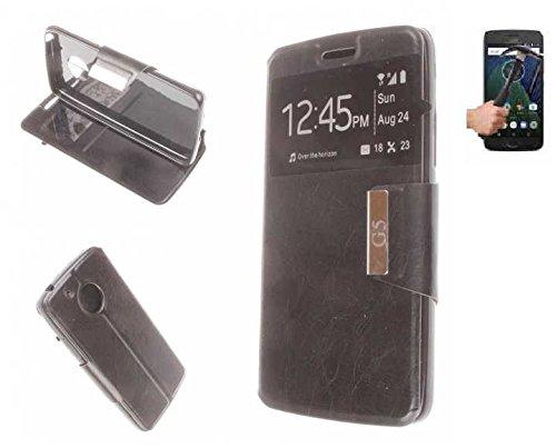 Todobarato24h Funda Libro Ventana Negra Motorola Moto G5 Plus 5.5 Pulgadas +...