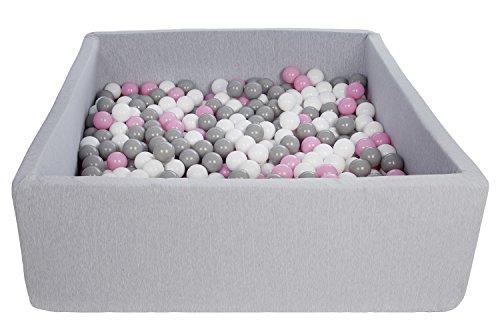 Velinda Bällebad Ballpool Kugelbad Bällchenbad Kinder-Pool mit 600 Bällen/120x120cm (Farbe der Bälle: Weiß,Rosa,Grau)