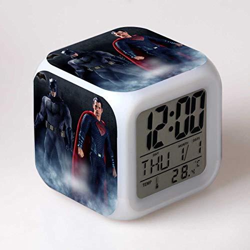 JXAA Reloj Despertador LED 7 Cambio de Color Reloj Digital Reloj de Escritorio electrónico Regalo para niños Juguete