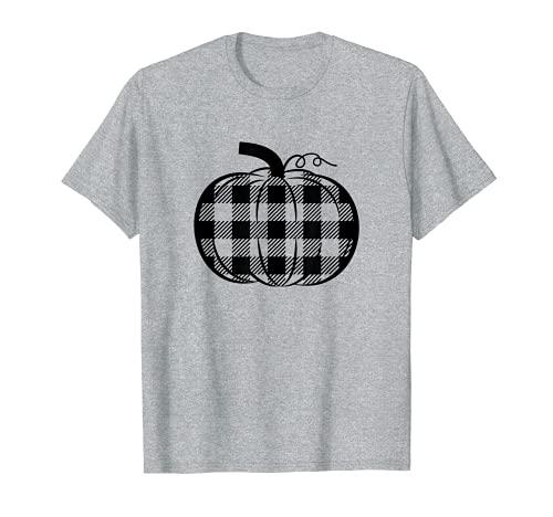 Linda Calabaza Camisas Mujeres Gingham Buffalo Plaid Casual Otoño Camiseta
