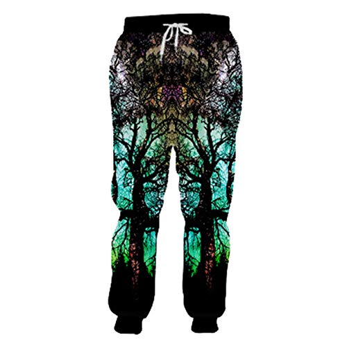 HanPaint Men Women Baggy Joggers Pants Space Galaxy 3D Printed Sweatpants Drawstring Waist Casual Trousers Galaxy Tree Pants XXXL Pack of 1