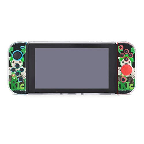 Cute French Bulldog Sitting in A Basket with A St Patrick's Day Sign Dockable Protective Case Cover for Nintendo Switch Compatible with Nintendo Switch Console and Joy-Con Controller