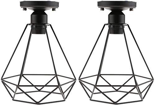 JSXing Luminaria colgante de una luz, The Nordic Modern Retro Industrial Jaula de pájaros de metal Lámpara colgante de techo con pantalla de diamante para cocina Isla Comedor Pasillo (Dos)