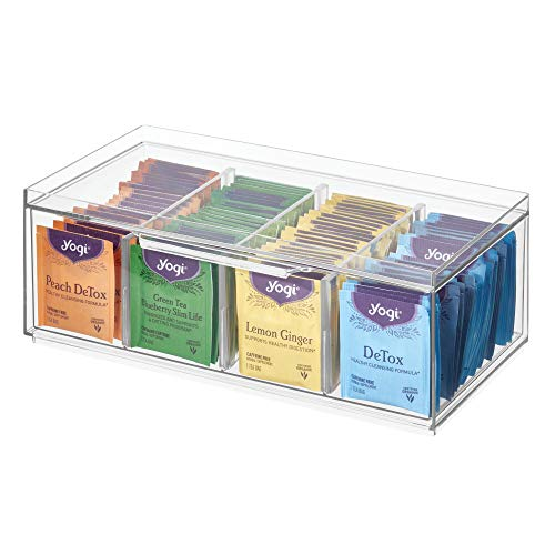 """iDesign 72110 Crisp BPA-Free Plastic Stackable Packet Storage Drawer with Lid for Kitchen Cabinets and Countertops, 12.59"""" x 6.23"""" x 4.57"""", Tea Organizer -  InterDesign"""