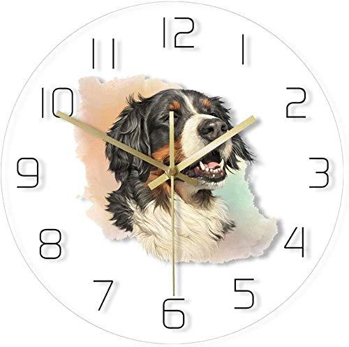 Relojes De Pared Para Mascotas De 12 Pulgadas Happy Bernese Mountain Dog Acrílico Reloj De Pared Transparente Pintura De Acuarela Perrito Sonriente Reloj Colgante De Pared Tienda De Mascotas