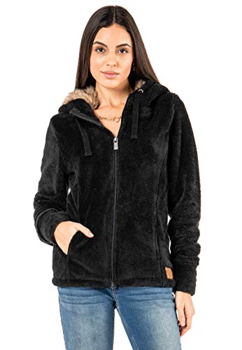 Sublevel Damen Fleece-Jacke mit Kunstfell & Teddy-Fleece Black L