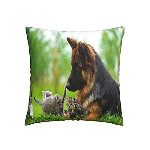 Xiaoxian Funda de almohada decorativa para sofá, cama, coche, diseño de ovejas y gatos alemanes