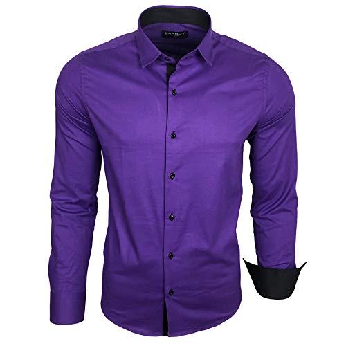 Baxboy Herren-Hemd Langarm/Business Freizeit Hochzeit/Bügelleicht/Slim-Fit/Anzug Kentkragen Hemd B-500, Farbe:Lila, Größen:XL