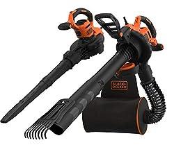 Black+Decker 3-in-1 Elektro-Laubsauger / Laubbläser BEBLV301 (3.000 Watt, mit Häcksler + aufsteckbarem Laubrechen, 72l Fangsack-Rucksack – hohe Blasgeschwindigkeit & verstellbare Saugleistung)