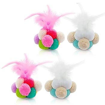 NA Lot de 4 balles rebondissantes colorées pour chat avec plumes et clochettes Jouets interactifs pour intérieur ou extérieur (couleur aléatoire)