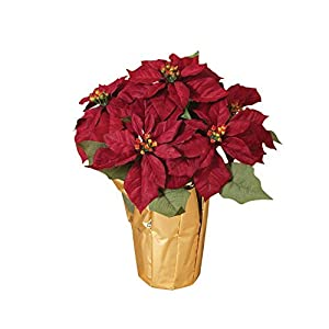 15 Inch Potted Red Poinsettia Plant – Artificial Christmas Poinsettia Plant in Gold Foil Wrap