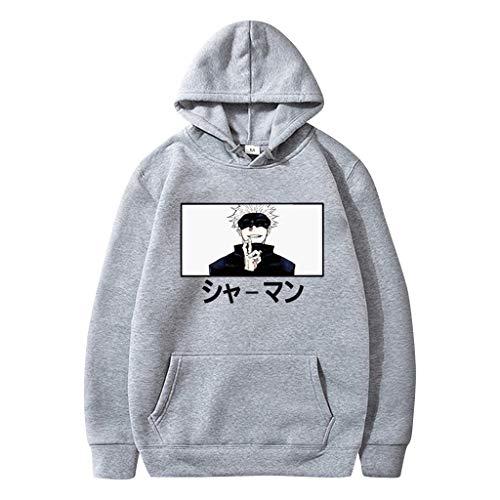 KIACIYA Sweat Jujutsu Kaisen Gojo Itadori Pull Anime Homme Femme Unisexe Hoodie Sweat à Capuche Swetshirt Manga Cosplay Vêtements à Manches Longues Sweat-Shirts Hauts Streetwear Tops (Gris A,XL)