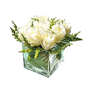 Artificial Flowers Artificial Flower Fake Flower with Glass Vase Set, Artificial Rose Silk Flower Set, Living Room Dining Table Fake Flower Mini Potted Floral Decoration Table Centrepieces