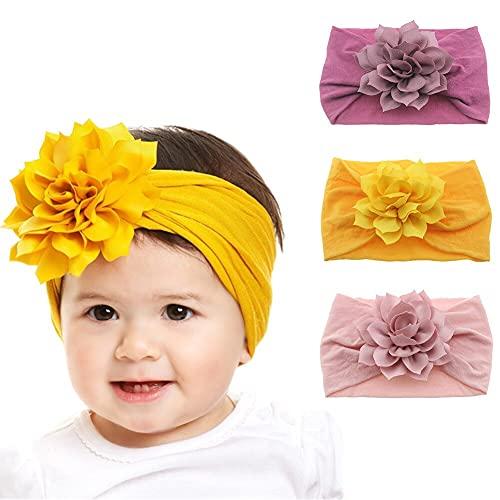 Diadema para recién nacidos con nudo de flor de loto y turbante, accesorios para el cabello, regalos de cumpleaños, color rosa oscuro, 2 unidades