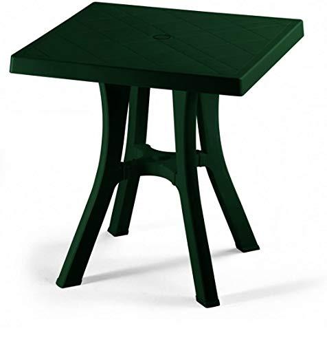 ALTIGASI Table Vert pour extérieur Daddy en résine Mesure 70 x 70 cm – avec 4 Pieds réglables – Fabriqué en Italie