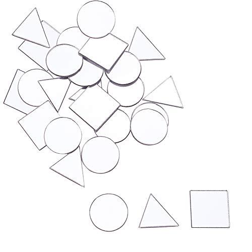 PandaHall 150 stücke 3 Formen Handwerk Spiegel Fliesen Glasspiegel Mosaik Fliesen Selbstklebende Spiegel Wandaufkleber für Handwerk Machen Dekoration (Dreieck, Platz, Flache Runde)