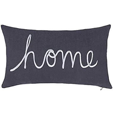 DecorHouzz Home Sentiment Pillow Cover Embroidered Pillow Cases Throw Pillow Decorative Pillow Wedding Birthday Anniversary Gift 14 x24  (Grey)