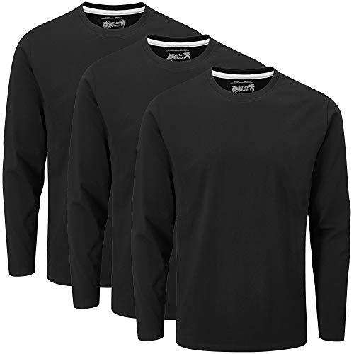 Charles Wilson T-Shirt Girocollo Semplice a Maniche Lunghe in Confezione da 3 (M, Black (1020))
