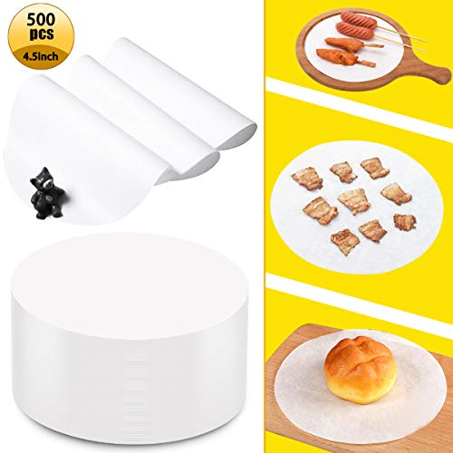 Kuqqi 500 Pcs Non-stick Round Parchment Paper,Patty Papers,Baking Paper Liners Round for Cake Pans Circle,Waxed Food-grade Round Hamburger Heat Resistant Paper for Cooking Baking Steaming BBQ