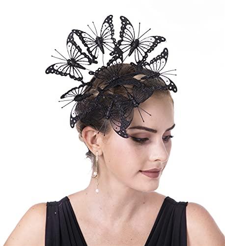 SAFERIN Butterfly Fascinator Hat Kentucky Derby Fascinators Halloween Costume Bohemian Wedding Headpiece (D3-Black)