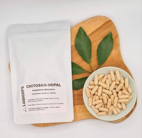 CHITOSAN-NOPAL 200 gélules 400mg enveloppe de la gélule 100% végétale