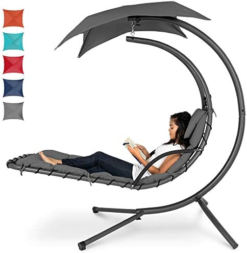 Best Choice Products Outdoor Hanging Curved Steel Chaise Lounge Chair Swing w Built in Pillow product image