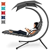 Best Choice Products Hanging Curved Chaise Lounge Chair Swing for Backyard w/Pillow, Canopy, Stand - Charcoal Gray