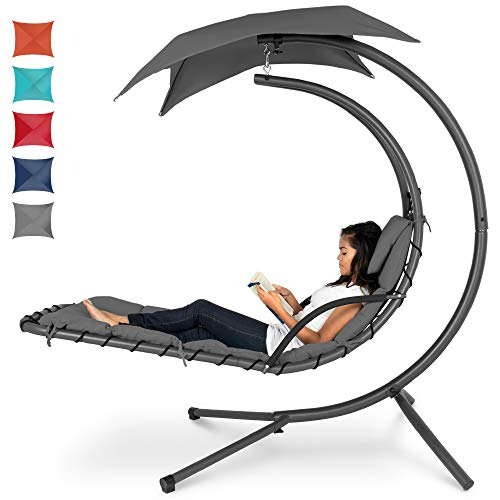 Best Choice Products Outdoor Hanging Curved Steel Chaise Lounge Chair Swing w/Built-in Pillow and Removable Canopy - Charcoal Gray