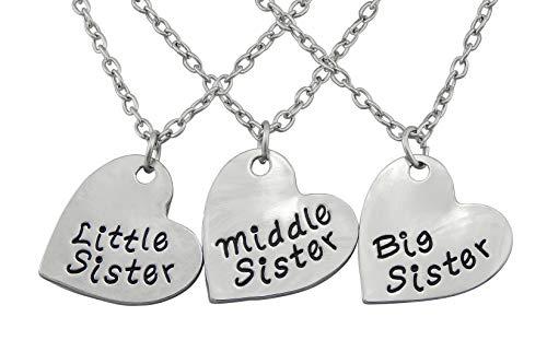 Hanessa 3X Herz Halskette Mädchen-Schmuck Schwester Familie Liebe Sister Geschenk für die Schwestern