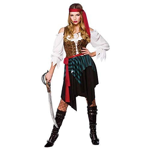 Caribbean Pirate Ladies Fancy Dress Costume XSmall 34-36