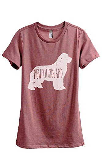 Thread Tank Newfoundland Dog Silhouette Women's Fashion Relaxed T-Shirt Tee Heather Rouge Small