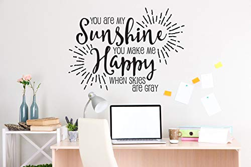 Plaque murale en vinyle avec citation My Sunshine pour chambre d'enfant Motif inscription « Make Me Happy Saying »