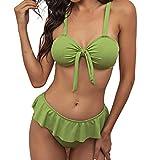 Conjunto de Bikinis Volante de Color Sólido de Dos Piezas Traje de Baño con Relleno Retirable Ropa de Baño con Correas Ajustables para Mujer Ropa de Playa Atractivo Bañadores Ideal para Natación,Surf
