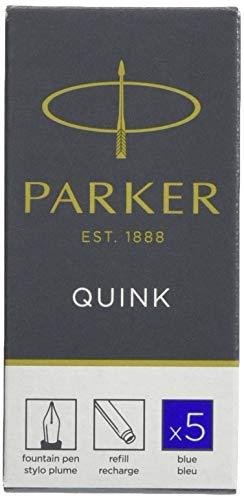 Parker Quink ricariche per penne stilografiche, cartucce lunghe, inchiostro blu, confezione da 5