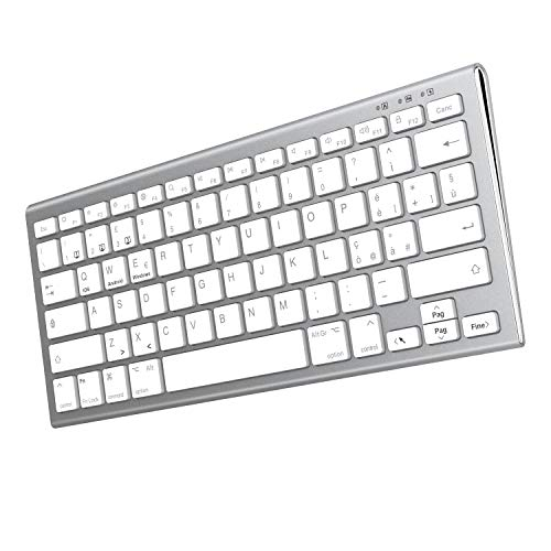 FENIFOX Teclado Bluetooth recargable, ergonómico mini QWERTY italiano portátil, ultrafino, iOS/Android/Windows, PC/ordenador/portátil/tablet (plateado y blanco)