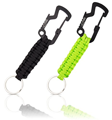 OUTDOOR FREAKZ Paracord Schlüsselanhänger mit Flaschenöffner (schwarz - hellgrün)
