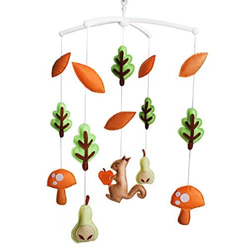 Jouets éducatifs Décor de chambre d'enfant Design cousu à la main décoration de lit de bébé cadeau mobile pour nouveau-né Mobile musical pour 0-1 ans (champignon)