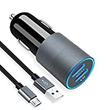 Micro USB Fast Car Charger Compatible for Samsung Galaxy S7/S6/Edge/Active/5/4, Note 5/4, J7/3/2, A10, Moto G5/4, Z2, LG Stylo 3/2 Plus, K30/20 Android phones, 30W Dual Port Car Adapter with 3ft cable
