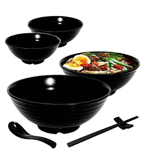 4 set (16 piece) Ramen Bowl Set, Asian Japanese soup with Spoons Chopsticks and Stands, Restaurant Quality Melamine, Large 32 oz for Noodles, Pho, Noodle, Udon, Thai, Chinese dinnerware. (4, Black)