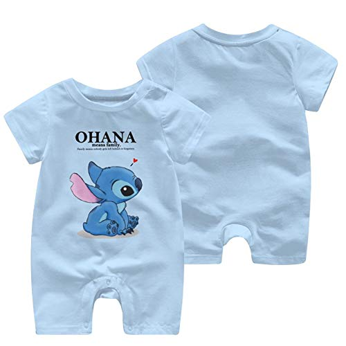 Lilo And Stitch Baby Outfits Short Sleeve T-Shirt Bodysuit Infant Pajamas Kids Romper Sky Blue 0-3 Months
